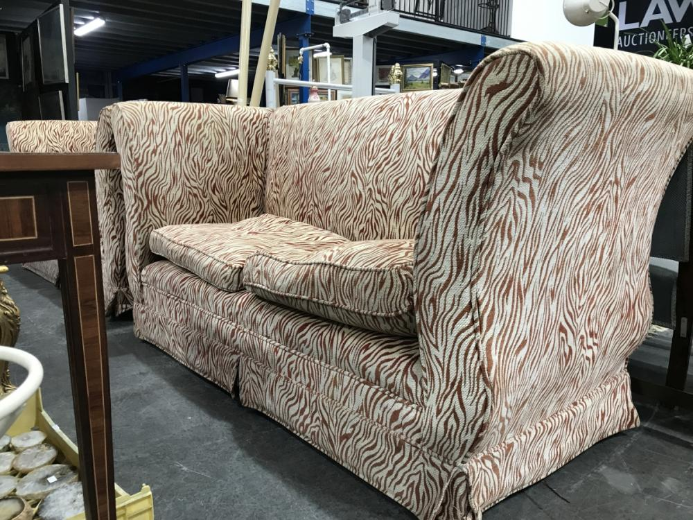 Pair of Animal Print Two Seater Lounges