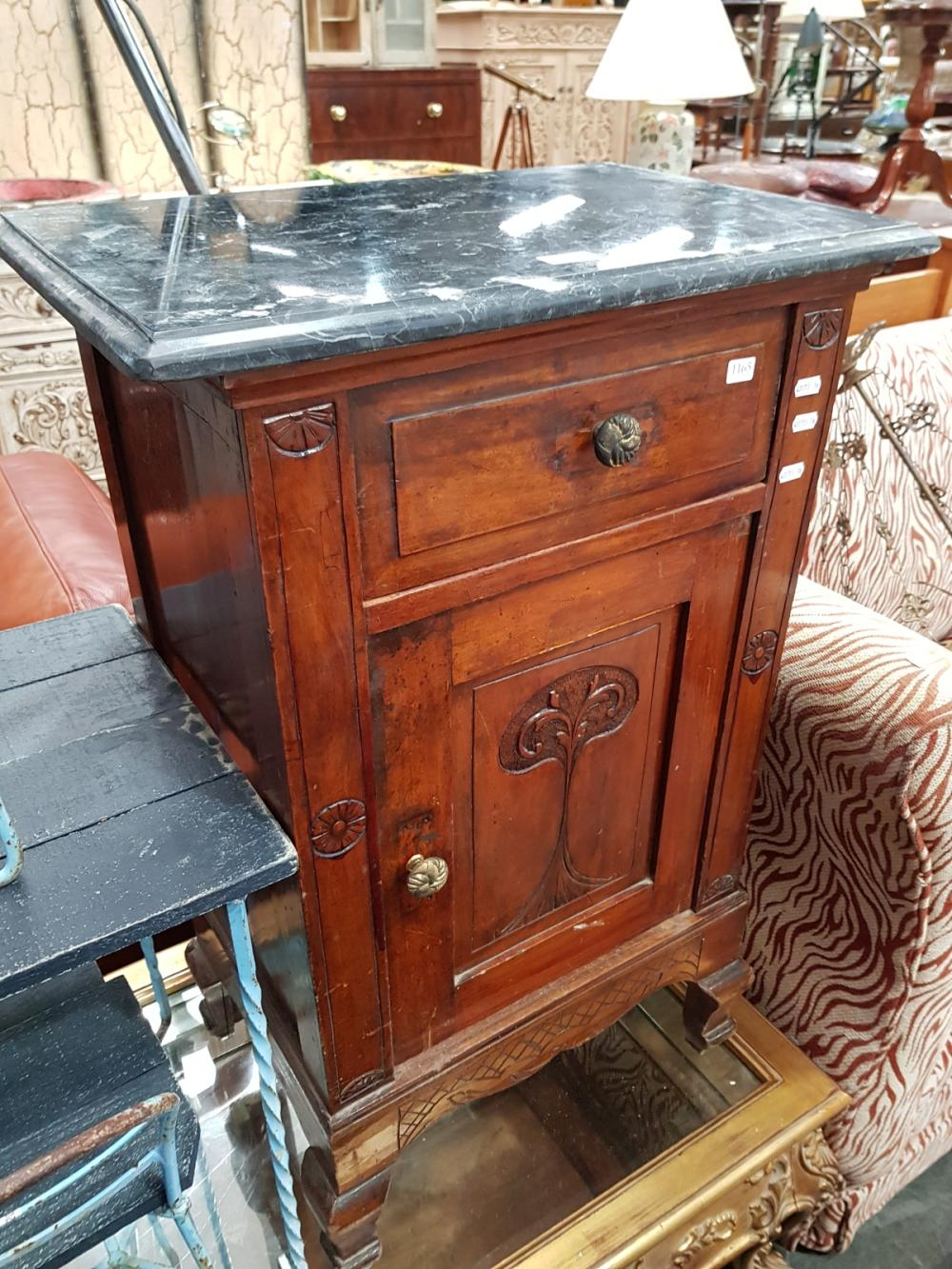 Marble Top Bedside Cabinet with Single Drawer & Door