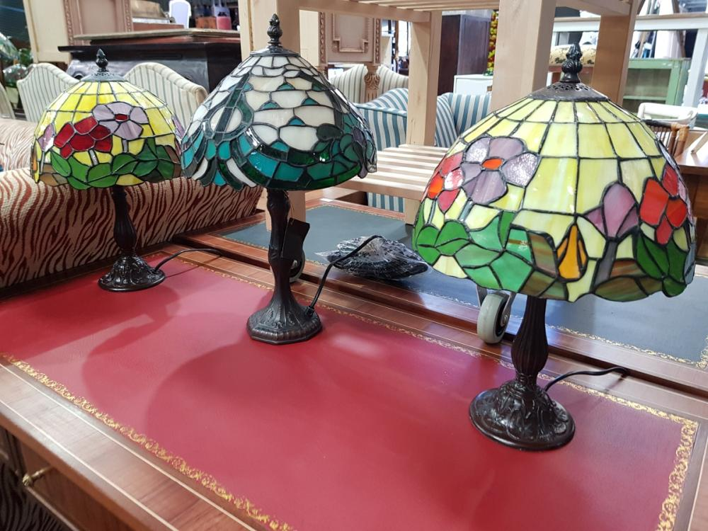 Pair of Leadlight Shade Table Lamps & Another (3)