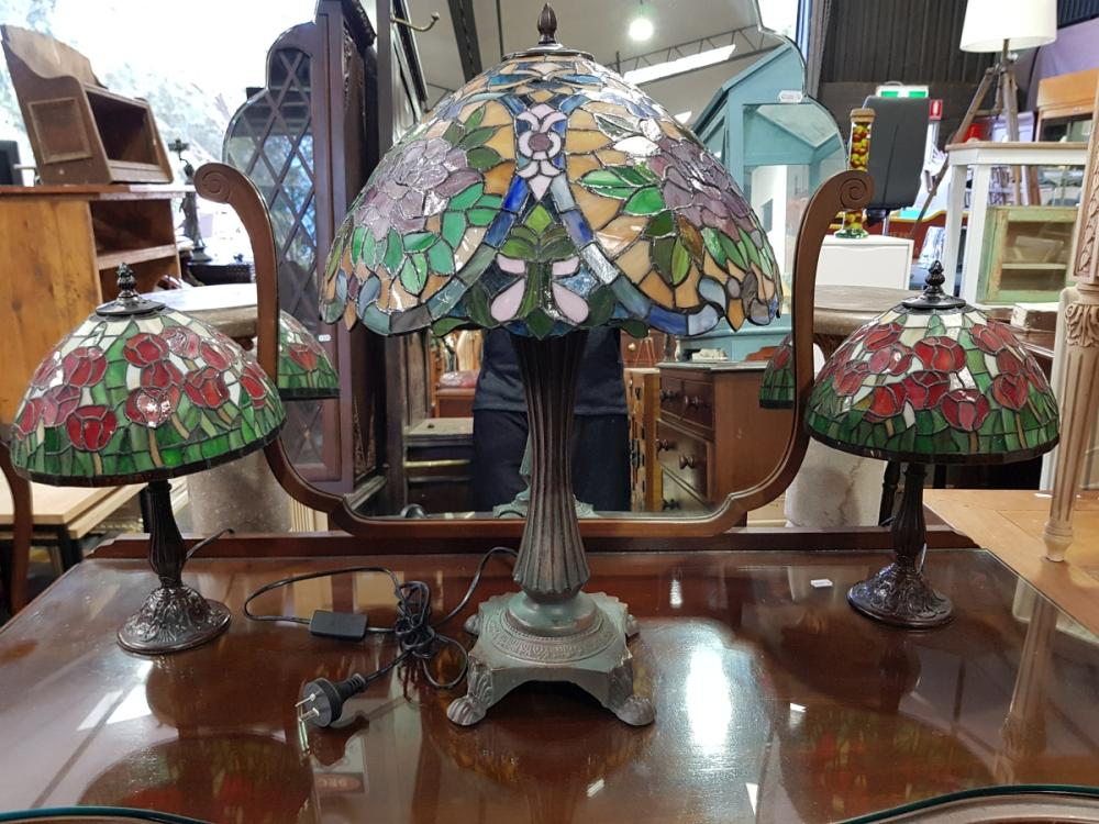 Pair of Leadlight Shade Table Lamps & Larger Example (3)