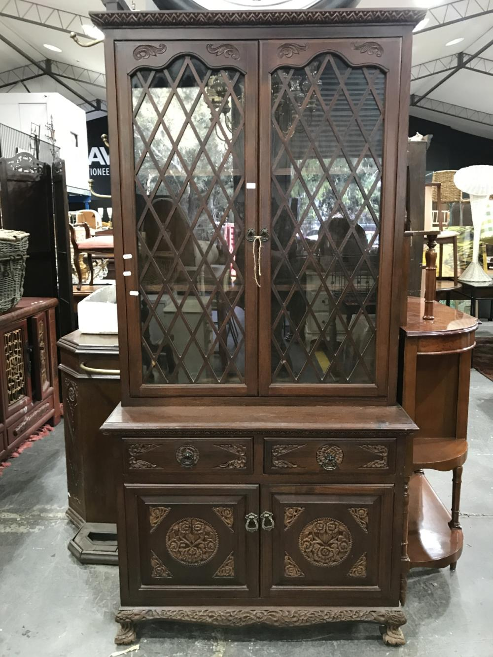 Carved Timber Bookcase with Glass Doors