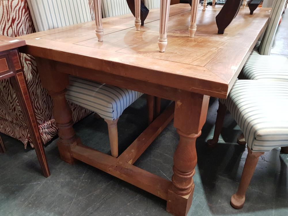 Rustic Teak Dining Table on Stretcher Base