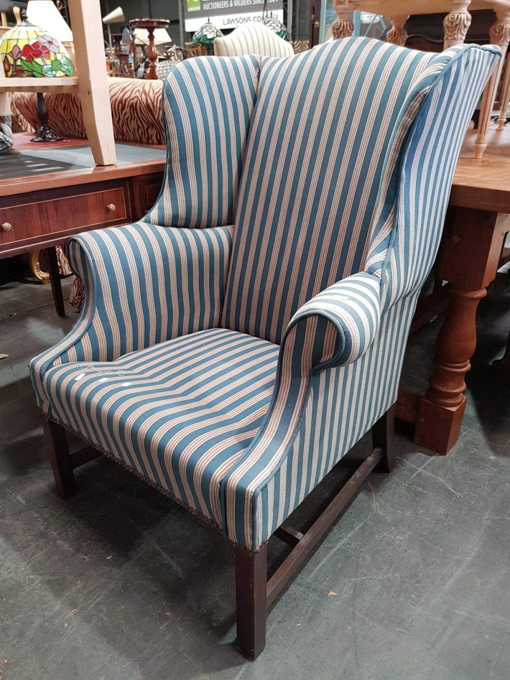 Striped Fabric Wing Back Arm Chair