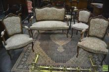 Louis XV Style Carved Parlour Suite, comprising settee, two armchairs & side chair, with pierced scrolls on cabriole legs