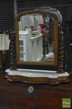 Victorian Mahogany Toilet Mirror, with barley twist supports & marble top