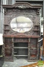 Rare & Impressive Japanese Export Carved Fireplace Surround, the lobed central mirror flanked by Onis, dogs of foo, a phoenix & shel...