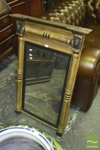Regency Gilt & Ebonised Mirror, flanked by turned leaf capped pilasters