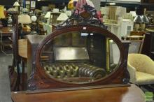 Late Victorian Inlaid & Pen Work Mahogany Overmantle Mirror, with pierced crest & bracket scrolls