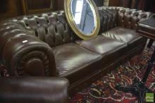 Brown Buttoned Leather 3 Seater Chesterfield Lounge