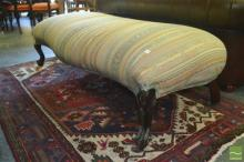 Victorian Long Striped Upholstered Ottoman, on cabriole legs.
