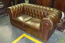 Brown Buttoned Leather 2 Seater Chesterfield Lounge