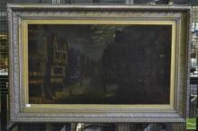 17th Century Style Street Scene, oil on canvas in gilt frame, signed Frank Rider, dated (1886).