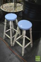 Pair Of Painted Timber Stools