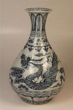 Chinese Blue & White 'Flying Dragon' Pear Shaped Vase