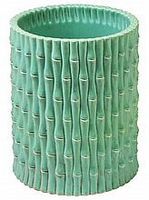 Chinese Bamboo Design Green Glaze Brushpot