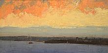 Albert Henry Fullwood (1863-1930) - Sunset, Sydney Harbour 1920 oil on canvas on board