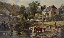 William Henry Pike (British, 1846 - 1908) - Old Mill & Bridge, Hessenford, Cornwall 1886 oil on board