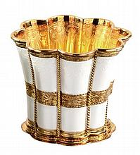 A Danish silver gilt and painted lobed beaker by A Michelsen, Copenhagen.