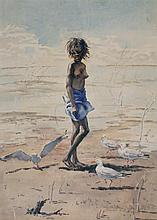 Helen Baldwin (working 1940s - 1980s) - Untitled (Young Aboriginal Girl) watercolour