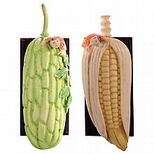 A Chinese Republic polychrome painted scent bottle of giant melon with a small boy and similar with corn cob.
