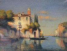 Antoine Bouvard (French, 1870-1956) - The Waiting Gondola, Venice oil on canvas