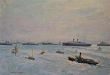 Charles Bryant (1883 - 1947) - Untitled (Harbour with Naval Ships) oil on canvas