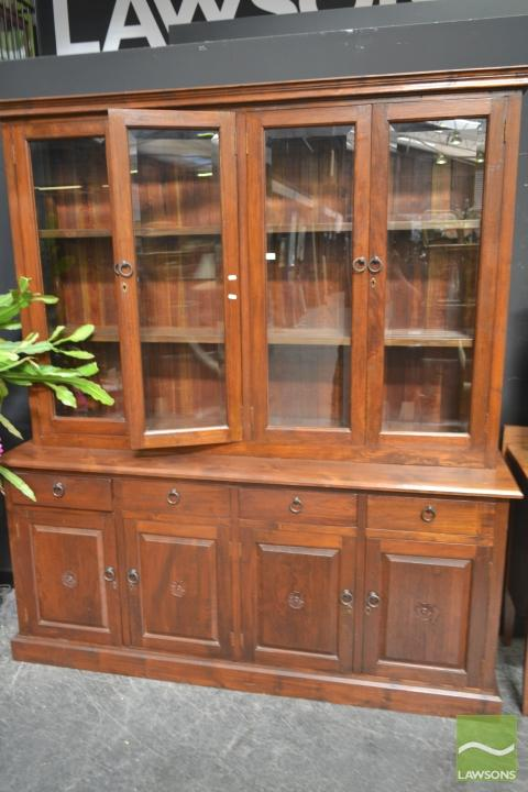 Large glass front bookcase on sideboard base for Sideboard glasfront