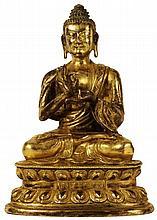 FINE CHINESE GILT BRONZE FIGURE OF BUDDHA SHAKYAMUNI, QIANLONG MARK AND HUANGHUALI BOX