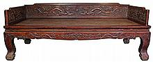 RARE AND MAGNIFICENT HUANGHUALI 'DRAGON' LUOHAN BED , LUOHANCHUANG 17TH CENTURY (LATE MING /EARLY QING DYNASTY)