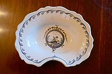 French Faience Barbers Shaving Bleeding Bowl -