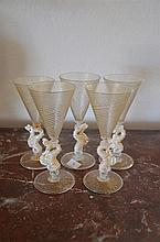 5 Wine Glasses with Sea Horse Stems -
