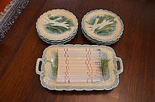 Seven Piece French Majolica Asparagus Service -