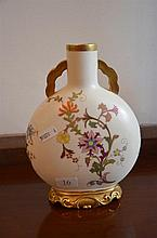 Royal Worcester moon flask vase, hand painted with Oriental design