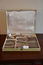 Thirty Nine Piece Antique French Silver Plate Cutlery with Original Box -