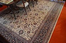 Large Persian Floor Rug with Cream Background and Blue Border - 278 x 372 cm