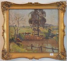 Rhys Williams (1894 - 1976) - Cattle Drinking 36 x 40 cm