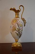 Royal Worcester hand painted with floral and gold gilt ewer