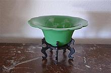 Raised Green Glass Bowl - D: 18 cm