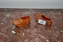 A Pair of Coral Coloured Carved Clogs - L: 7cm