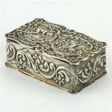English Hallmarked Sterling Silver Cherub Snuff Box