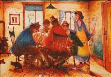 Eris Fleming (1943 - ) - Poker Game on Saturday 34.5 x 50 cm