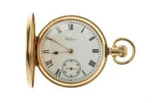 AN 18CT GOLD WALTHAM FULL HUNTER POCKET WATCH; white enamel dial, black Roman numerals, subsidiary seconds on a  stem wind and set 1...
