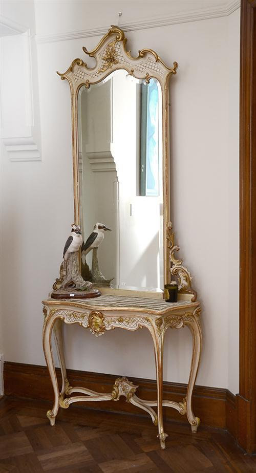 A louis xv style console table and bevelled mirror with velv for Mirror 40cm wide
