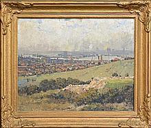 Julian Howard Ashton (1851 - 1942) - Newcastle from the Hill 29 x 37cm
