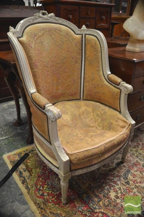 Louis Xvi Style Carved Amp White Painted Fauteuil With Studde