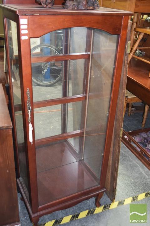 Timber Display Cabinet Raised On Cabriole Legs