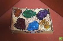 6 Tinted Crystal Clusters