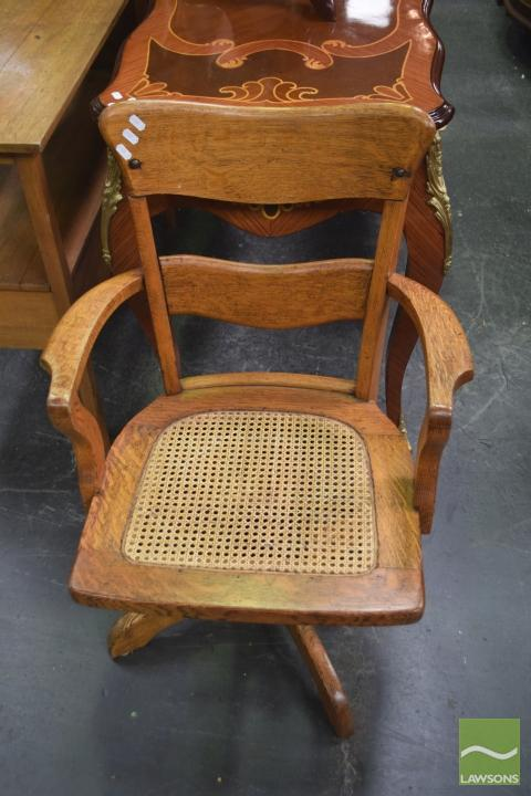 Silky Oak Captains Chair With Rattan Seat