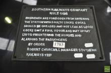 Cast Iron Reproduction Southern Railways Company Sign