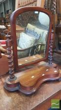 Victorian Mahogany Toilet Mirror, on shaped base